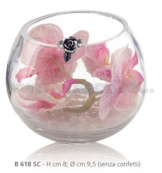 PINK ORCHIDS IN GLASS JAR CM 8X9, 5 DECORATION WITH FLOWER AND RIBBON