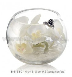 ORCHIDS IN GLASS JAR WHITE CM 8X9, 5 DECORATION WITH FLOWER AND RIBBON