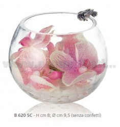PINK ORCHIDS IN GLASS JAR CM 8X9, 5 DECORATION WITH SEA AND RIBBON