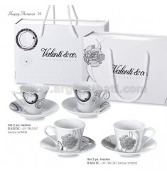 SET 2 PEZZI TAZZINE CAFFE' ROSE CON BAG CM 18X12X7