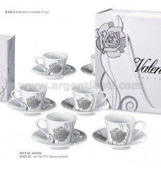 SET 6 PIECES COFFEE CUPS ROSE WITH BAG 26X17X7 CM