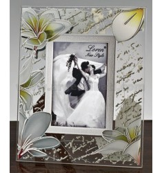 FRAME CRYSTAL PRINTED FLOWERS CREAM CM 6X9 R / WOOD ARG.