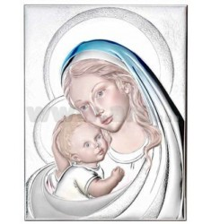 MADONNA WITH HOLY CHILD COLORFUL 22x27 CM, 5 R / WOOD LAM.AG