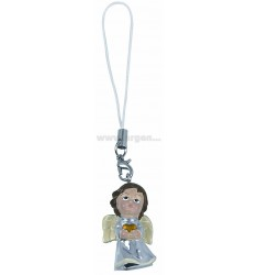 MOBILE PHONE PENDANT STRING CREAM WHITE ANGEL WITH HEART