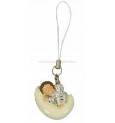 MOBILE PENDANT CORD AND WHITE ANGEL ON CRESCENT &ltBR&gt