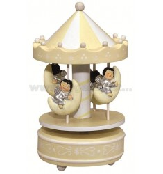 CAROUSEL MUSIC BOX CREAM WITH ANGELS MOON 10x18 CM