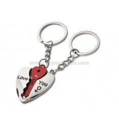KEY HEART WITH KEY AND RED RHINESTONES