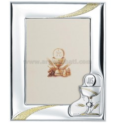 COMMUNION FRAME 13X18 CM R / WHITE WOOD PLAQUE BILAMINATED AG
