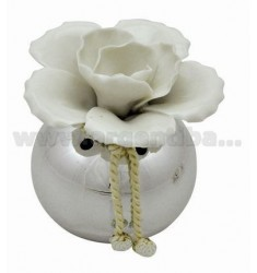 PERFUMING SMALL JAR WITH PORCELAIN WHITE DAHLIA D.CM 6.5
