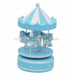 CAROUSEL HORSES WITH 4 BLUE 10X18 CM