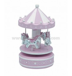 4 CAROUSEL HORSES WITH PINK 10X18 CM
