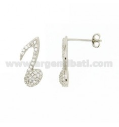 EARRINGS MUSICAL NOTE LOBE 16X7 MM WITH PAVE 'OF ZIRCONIA IN AG RHODIUM TIT 925 ‰