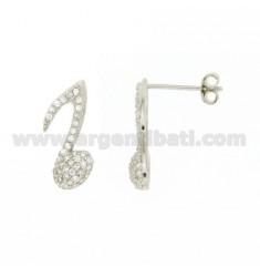 Eine musikalische Note Ohrringe 16x7 MM LOBO mit pflastern 'von Zirkonoxid im Rhodium AG TIT 925