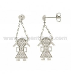 GIRL PENDANT EARRINGS WITH ZIRCONIA PAVE IN AG RHODIUM TIT 925 ‰
