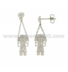 CHILD PENDANT EARRINGS WITH ZIRCONIA PAVE IN AG RHODIUM TIT 925 ‰