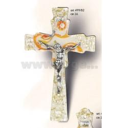 CROSS WITH CHRIST SHAPED GLASS MURANO JADE H.ARG.16.CM