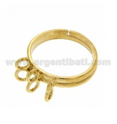 RING WITH 6 RINGS IN SILVER GOLD PLATED 925 ‰