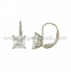 A nun WITH ZIRCON EARRINGS WHITE SQUARE 6X6 MM IN RHODIUM AG TIT 925 ‰