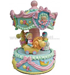 CAROUSEL BABY PINK H 17 CM WITH BELLS
