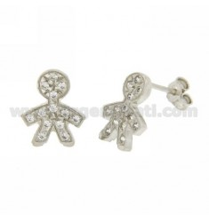 BABY LOBE EARRINGS WITH ZIRCONIA PAVE IN AG RHODIUM TIT 925 ‰