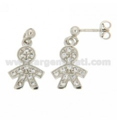 BOY WITH EARRINGS PENDANT PAVE &39OF ZIRCONIA IN RHODIUM AG TIT 925