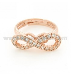 INFINITE A RING SIZE ADJUSTABLE WITH ZIRCONIA SILVER COPPER 925