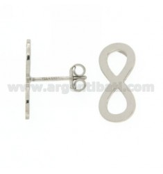 INFINITE PLATE WITH A STUD EARRINGS IN SILVER RHODIUM 925 ‰