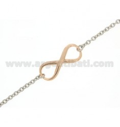 INFINITE TWO.TONE SMOOTH SILVER BRACELET RHODIUM SILVER AND COPPER GOLD 925 ‰