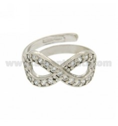 INFINITY RING SIZE ADJUSTABLE WITH A ZIRCONIA SILVER RHODIUM 925 ‰