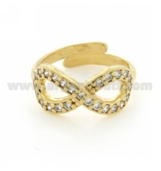 INFINITE A RING SIZE ADJUSTABLE WITH ZIRCONIA SILVER GOLD PLATED 925 ‰