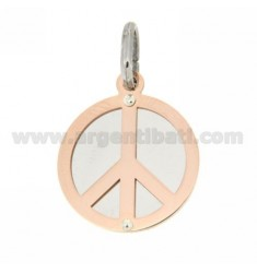 PEACE SYMBOL PENDANT WITH ROUND ROSE GOLD PLATED SILVER 925