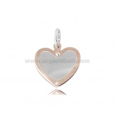 HEART PENDANT WITH ROSE GOLD PLATED HEART IN SILVER 925 ‰