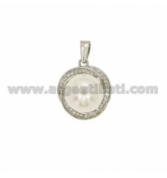 ROUND PEARL NECKLACE WITH 10 MM AND ZIRCONIA IN RHODIUM AG TIT 925 ‰