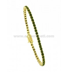 TENNIS BRACELET IN YELLOW GOLD PLATED MM 3 AG TIT.925 GREEN PERIDOT AND ZIRCONIA
