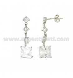 ZIRCONIA EARRINGS WITH VARIOUS MEASURES AG RHODIUM TIT 925 ‰