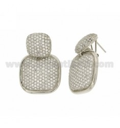 EARRINGS AND DOUBLE CUSHION 15X15 26x26 MM WITH PAVE &39OF ZIRCONIA IN RHODIUM AG TIT 925 ‰
