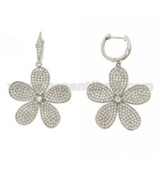 HOOP EARRINGS WITH FLOWER PENDANT WITH PAVE 'OF ZIRCONIA IN AG RHODIUM TIT 925 ‰