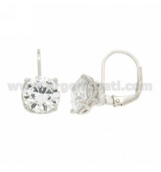 SOLITARY fish hook EARRINGS WITH ZIRCON 0.9 MM IN RHODIUM TIT AG 92.5 ‰