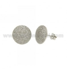ROUND LOBE EARRINGS MM 14 WITH MICRO PAVE 'OF ZIRCONIA IN AG RHODIUM TIT 925 ‰ E
