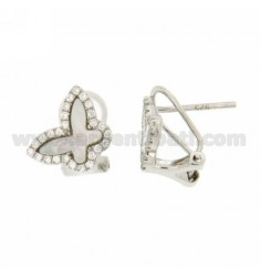EARRINGS BUTTERFLY IN LOBO AG TIT 925 ‰, MOTHER OF PEARL AND ZIRCONIA