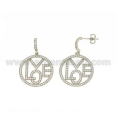 LOVE PENDANT EARRINGS WITH ZIRCONIA PAVE IN AG RHODIUM TIT 925 ‰