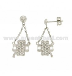 PENDANT EARRINGS FOUR LEAF CLOVER WITH PAVE 'OF ZIRCONIA IN AG RHODIUM TIT 925 ‰