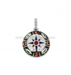 PENDANT ROUND WITH ROSE OF THE WINDS IN SILVER RHODIUM TIT 925 ‰ AND ENAMEL
