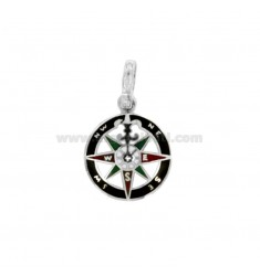ROUND PENDANT WITH ROSE OF THE WINDS IN SILVER 925 ‰ AND ENAMEL