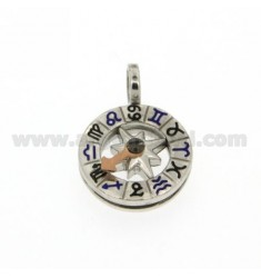ROUND WITH ZODIAC PENDANT IN SILVER AND ENAMEL 925 ‰