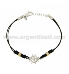 HELM AG RHODIUM BRACELET IN TIT 925 WAXED SILK AND ZIRCONIA