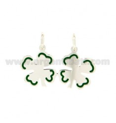 CHARM CLOVER DIVISIBLE GLAZED IN GREEN FINISHES WITH SILVER 925