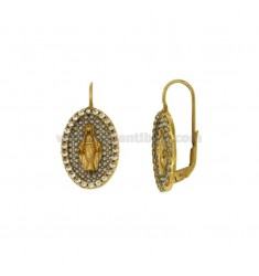 MIRACULOUS PLATED EARRING GOLD AND INTERNAL RHODIUM WITH ZIRCONIA ROUND SILVER 925 ‰