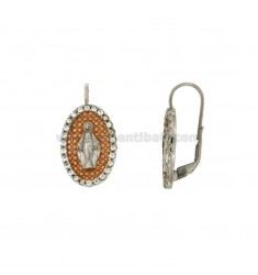 EARRINGS OVAL rhodium MIRACULOUS MADONNA AND INTERNAL COPPER WITH ZIRCONIA ROUND SILVER 925 ‰