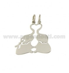 Pendant elephants DIVISIBLE SILVER RHODIUM 925 ‰